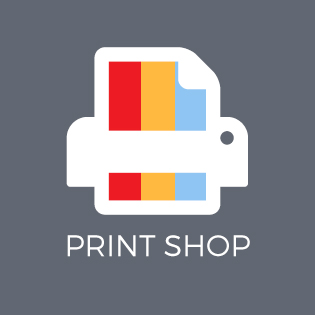 Graphic of printer with Print Shop text