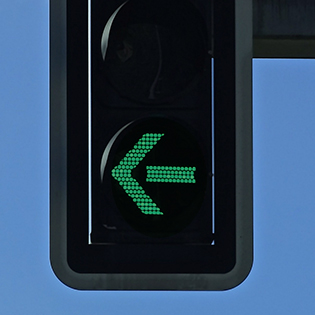 Image of left turn protection signal