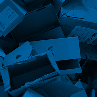 Photo of cardboard boxes with a blue photo filter