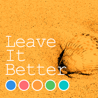 "Photo of a shell on sand with words ""Leave it Better"""