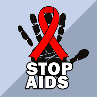 stop aids with red ribbon