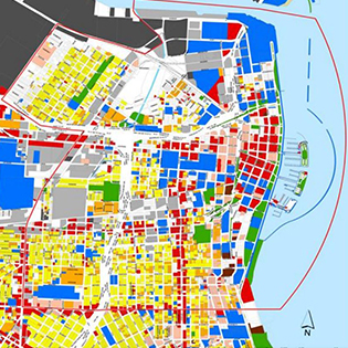 map with colored lots