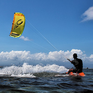 Man on kite board