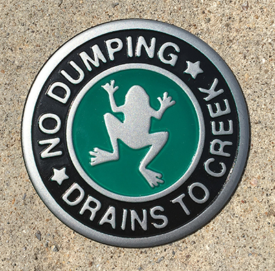 No dumping storm drain marker with frog.